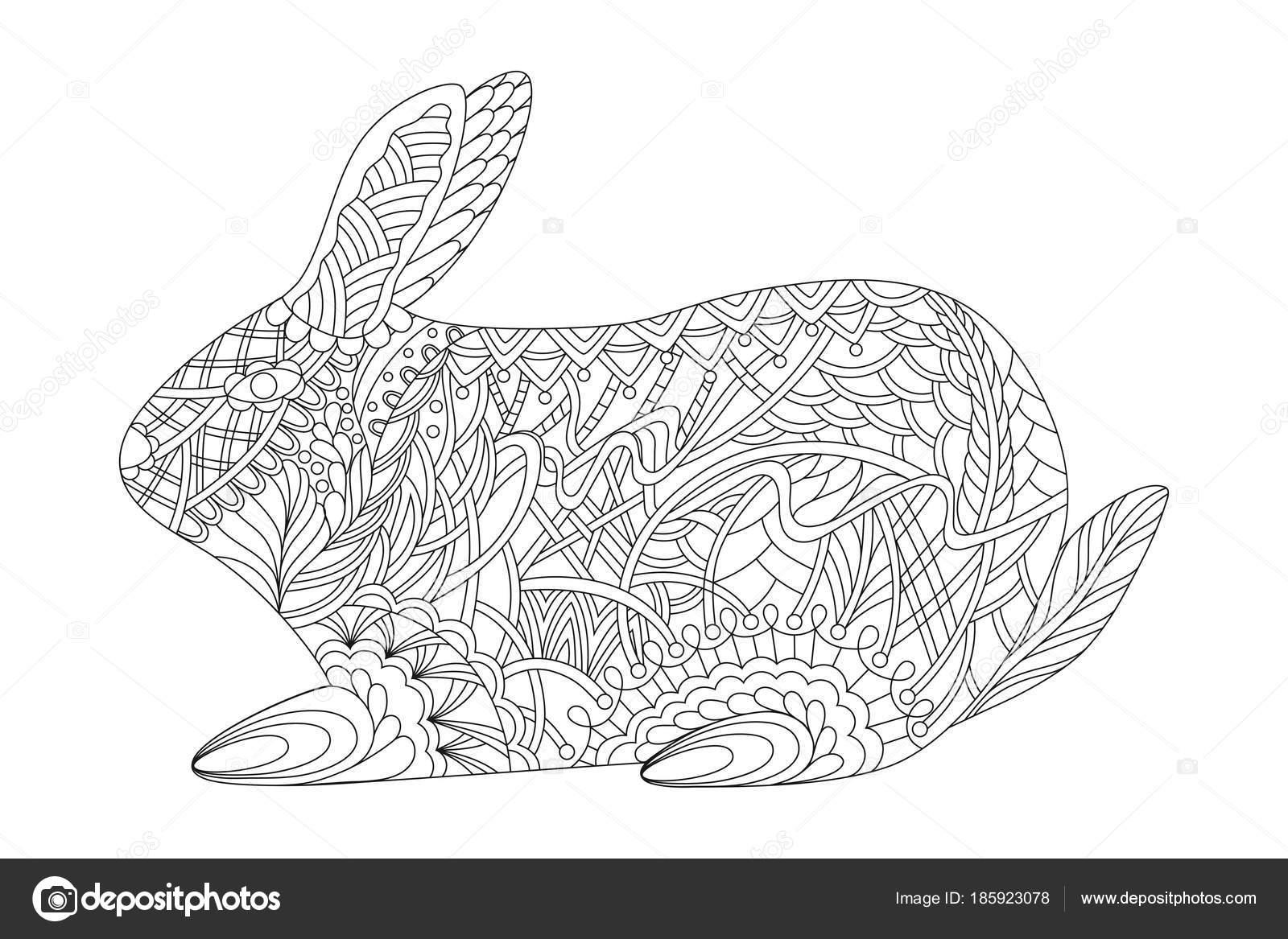 Tavşan Zentangle Paskalya Ve Boyama Kitabı Için Tarzı Stok Vektör