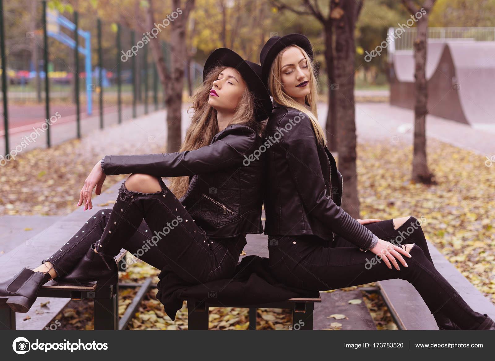 Street Fashion Concept Closeup Portrait Of A Two Pretty Girls
