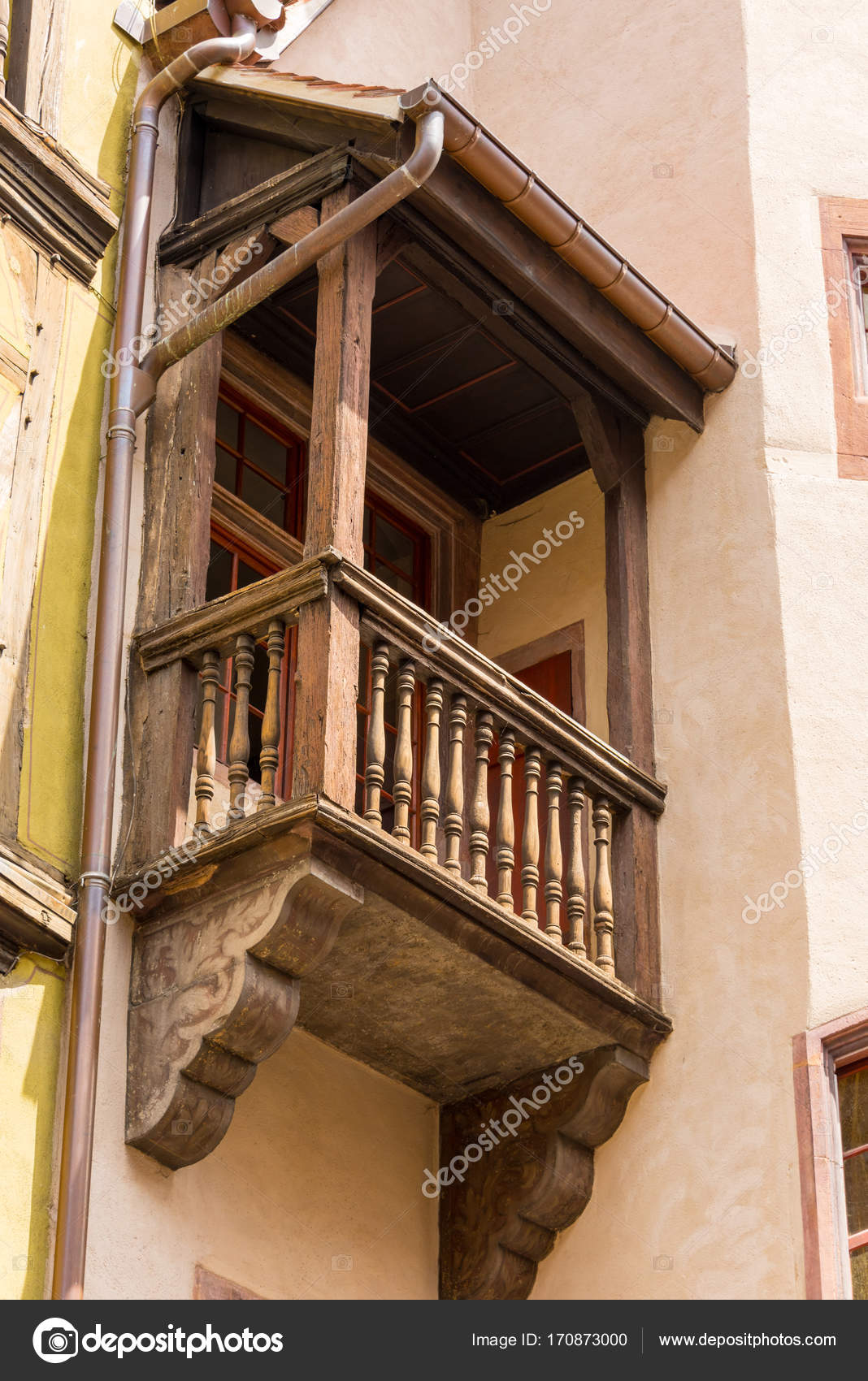 Small Wooden Balcony On An Old Half Timbered House In The French Town Of Colmar In Alsace Stock Photo C Tkphotography 170873000