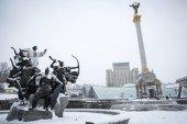 Snow falls asleep Independence Square in Kiev, Ukraine