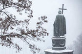 Snow falls asleep monument to Vladimir the Great in Kiev, Ukraine