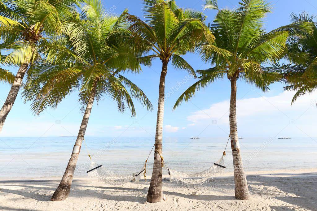 Hammocks on the beautiful beach, Bohol Island, Philippines