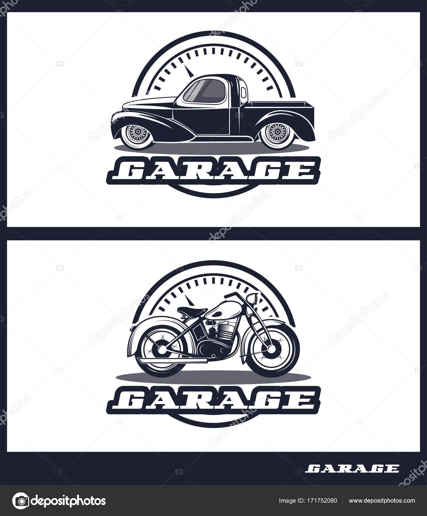 Set of transport logos in retro style, logo for workshops ...