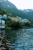 Photo buildings on riverside in Norway