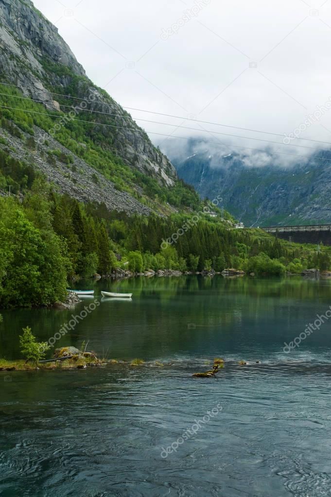 river and Norwegian mountains