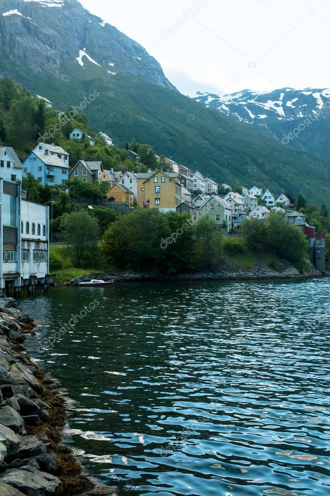 buildings on riverside in Norway