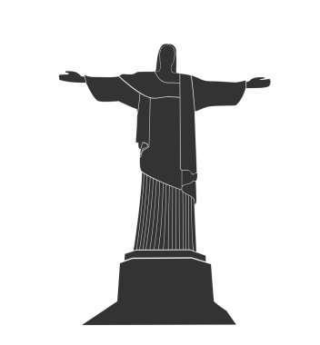 Flat silhouette of Statue Of Christ in Rio De Janeiro clip art vector