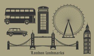 set of London landmarks
