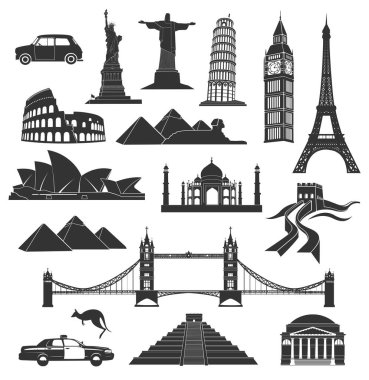 set of city  landmarks