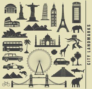 set of city  landmarks