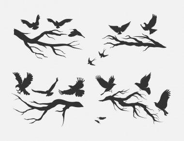 pattern with birds soaring over branches