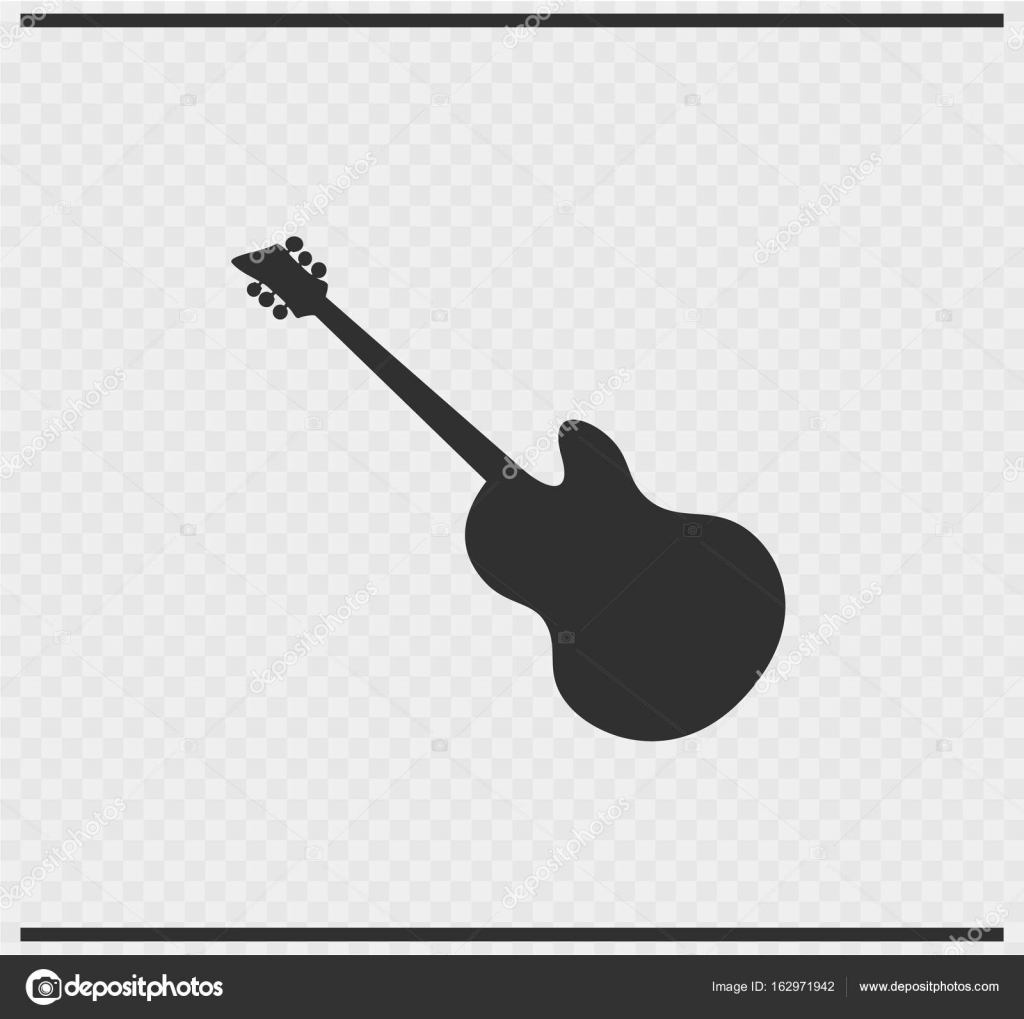 Guitar Icon Black Color On Transparent Background Vector By PanaceaDoll