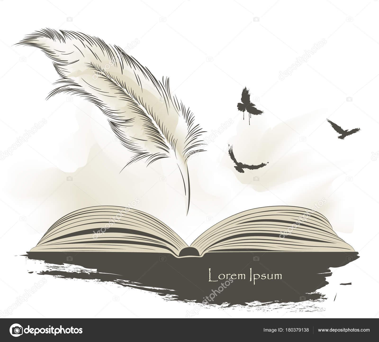 Uçan Kuşlar Açık Kitap Ile Yazma Eski Tüy Boya Stok Vektör