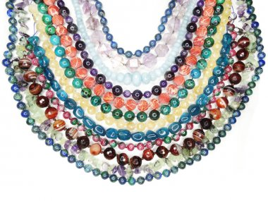 semigem necklace with bright crystals jewelry