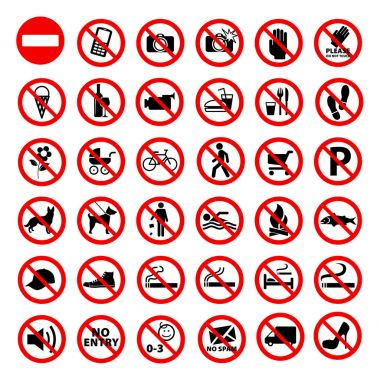 Prohibited Signs Collection Vector EPS10