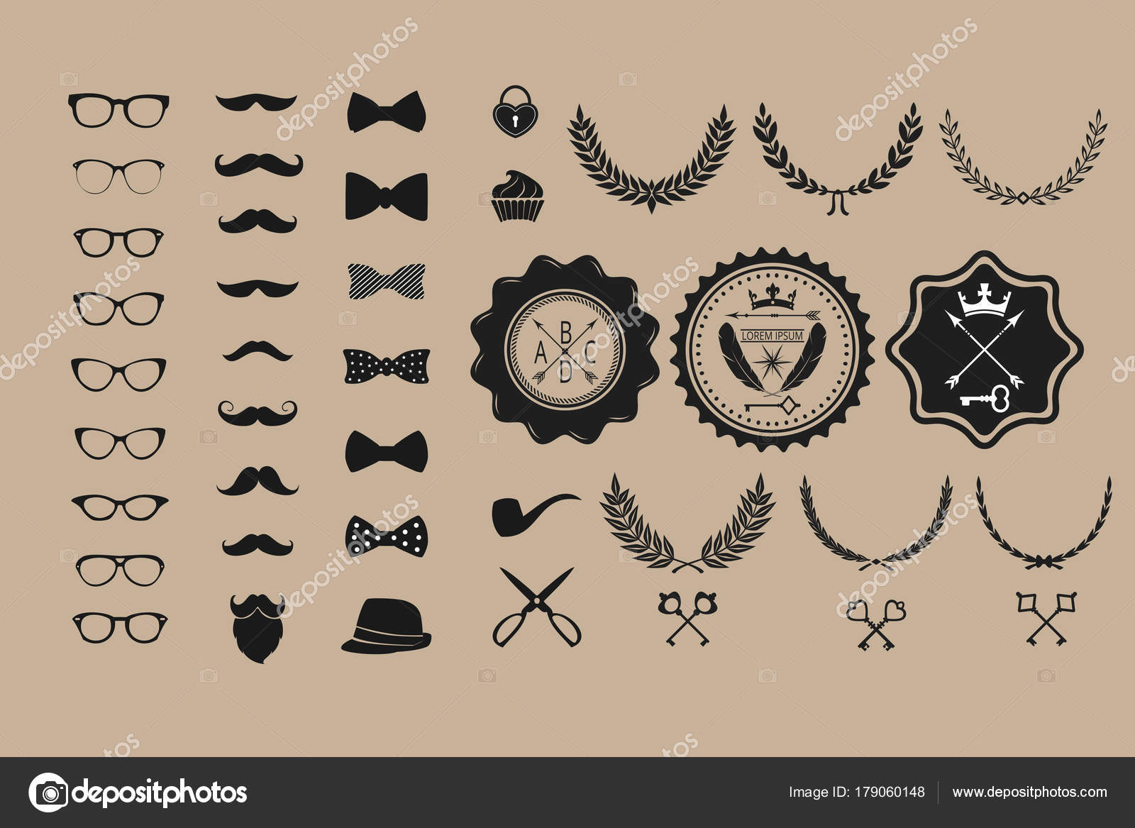 Huge Set Vintage Styled Design Hipster Icons Vector Signs Symbols