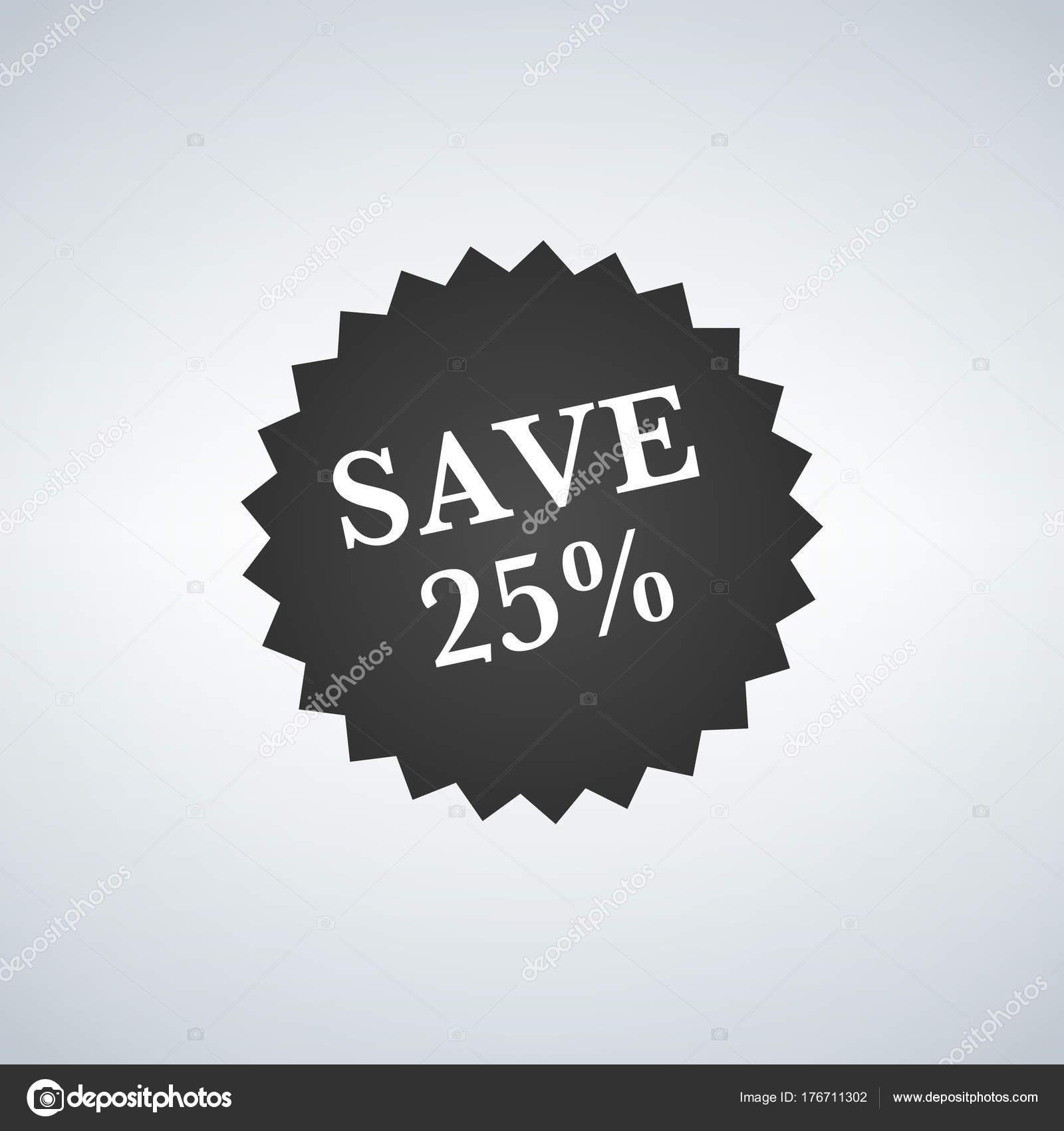 Sale tags badge template, 25 percent sale label symbols, discount ...