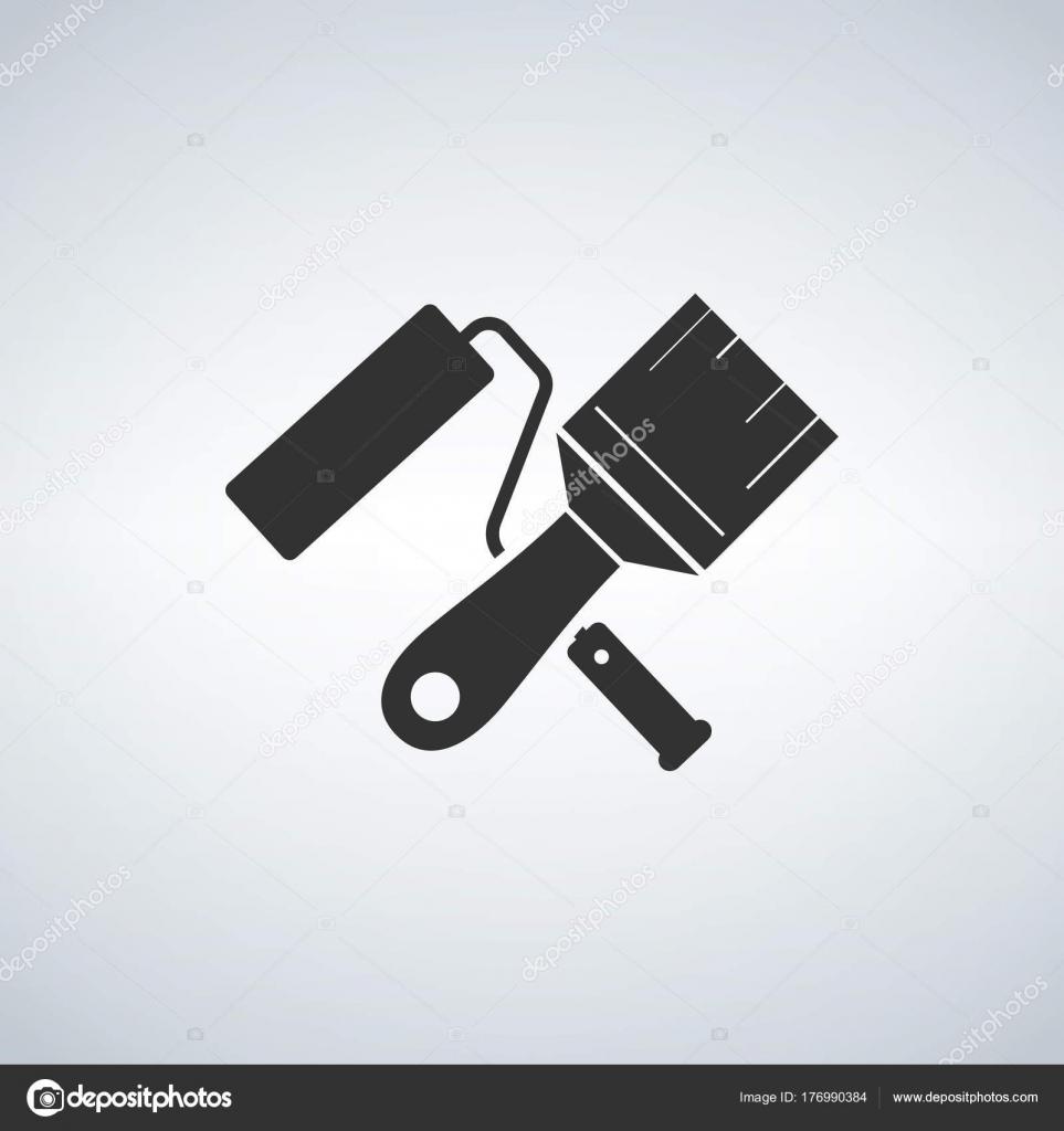 ローラー ブラシ アイコンをペイントします 壁修復ツールと絵記号