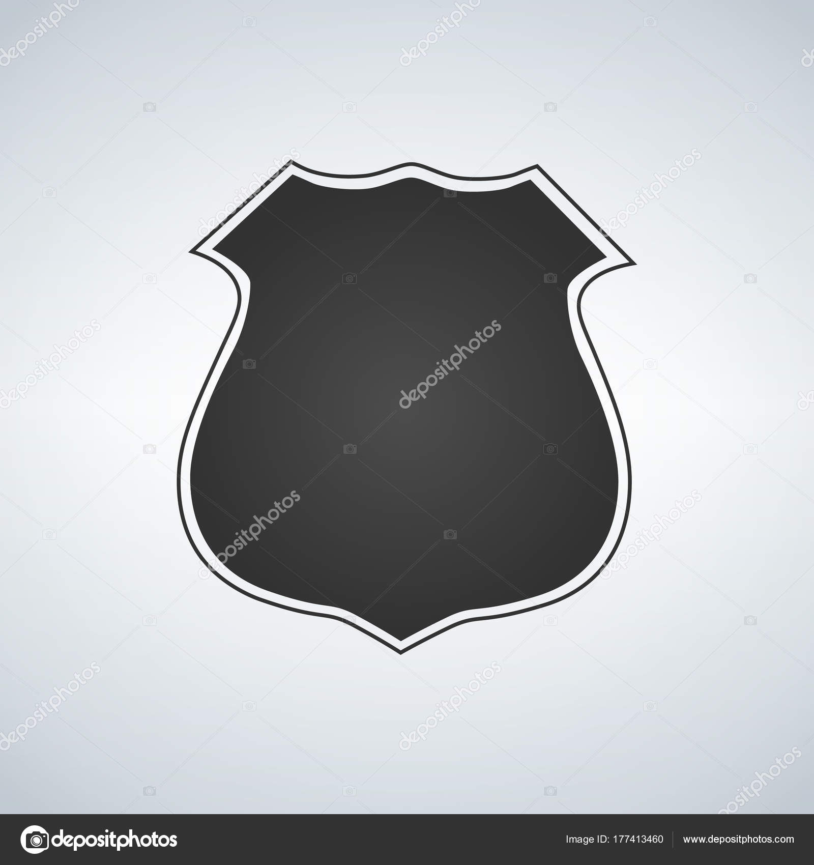 Police Badge Blank Template Vector Icon Illustration Stock Vector