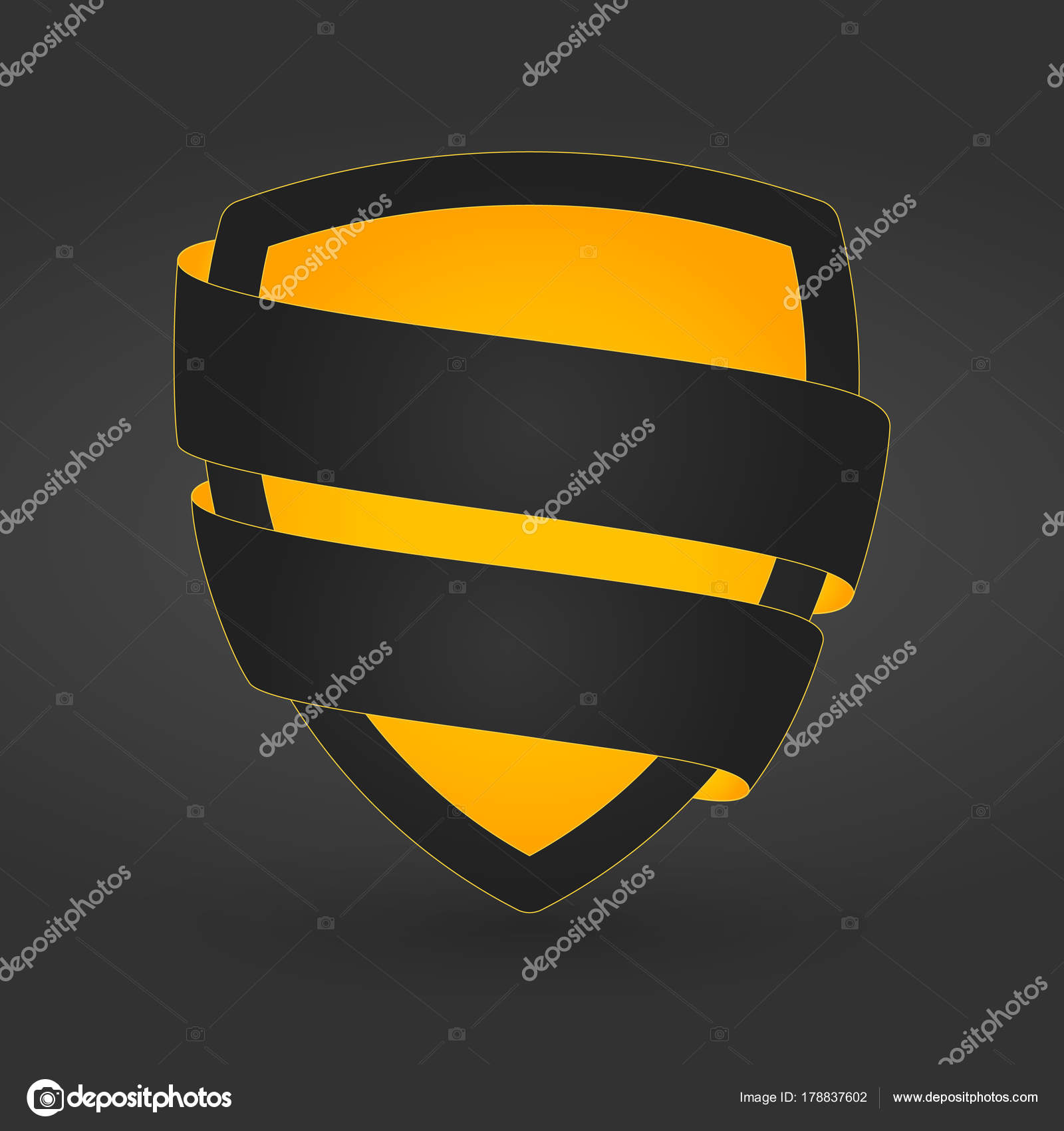 Single Golden Shield Template With Ribbon Ready For Text On Dark Background Stock Vector