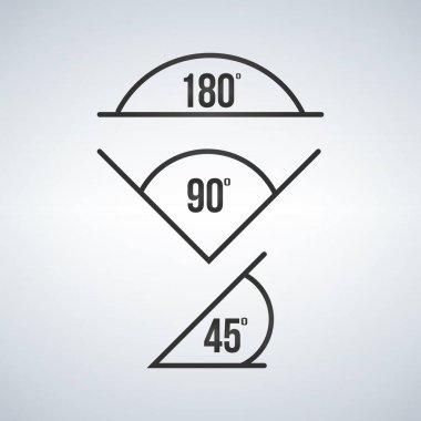 angle icon set, 180, 90, 45. Vector illustration isolated on modern background.
