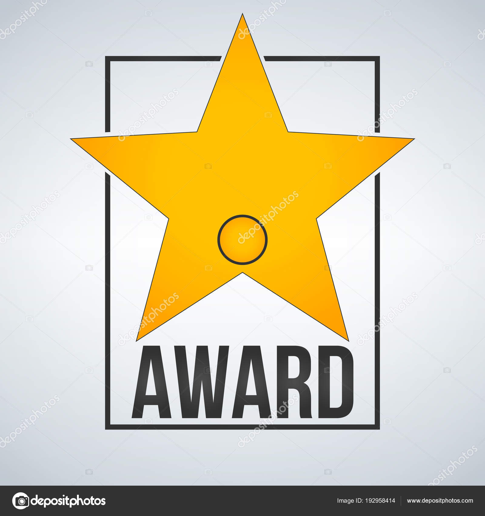 Golden Award Star Template With Badge And Frame Vector Illustration