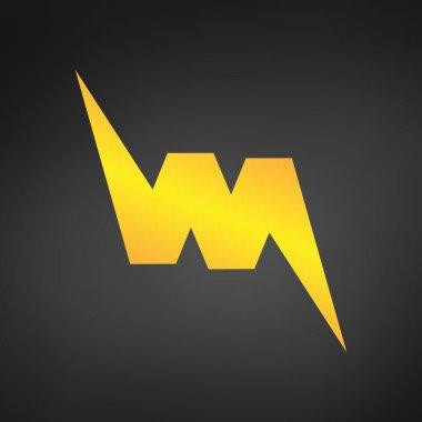 Letter W or VM logo icon design template element like lightning. Vector illustration.