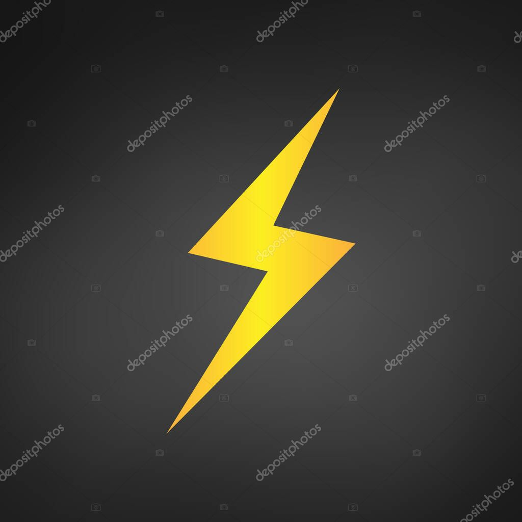 Yellow lightning or charging Icon vector. Simple flat symbol. Yellow pictogram illustration on black background.