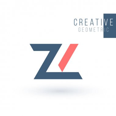 Minimal Modern geometric ZL Letterz logo design. Triangle Logo Icon Emblem Monogram for Architectural, Industrial Business. Stock Vector illustration isolated on white background.