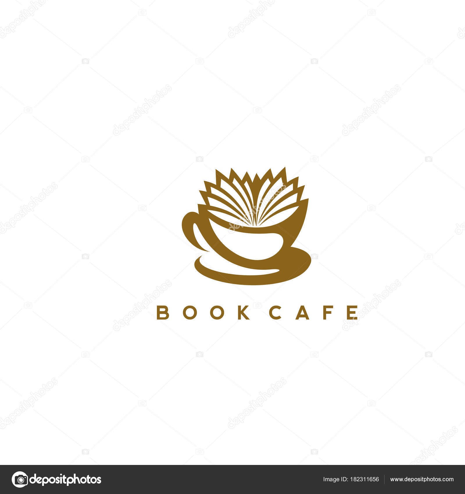 book cafe logo template illustration stock vector vicasso