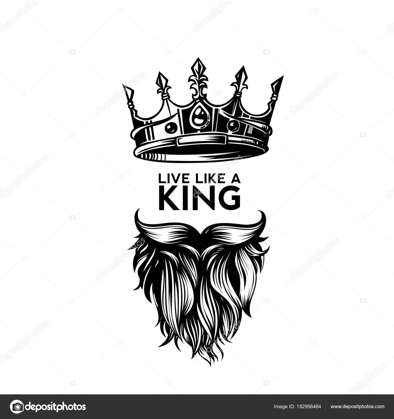Hipster Design Studio Logo Vector: King Crown, Moustache And Beard Logo Vector Illustration