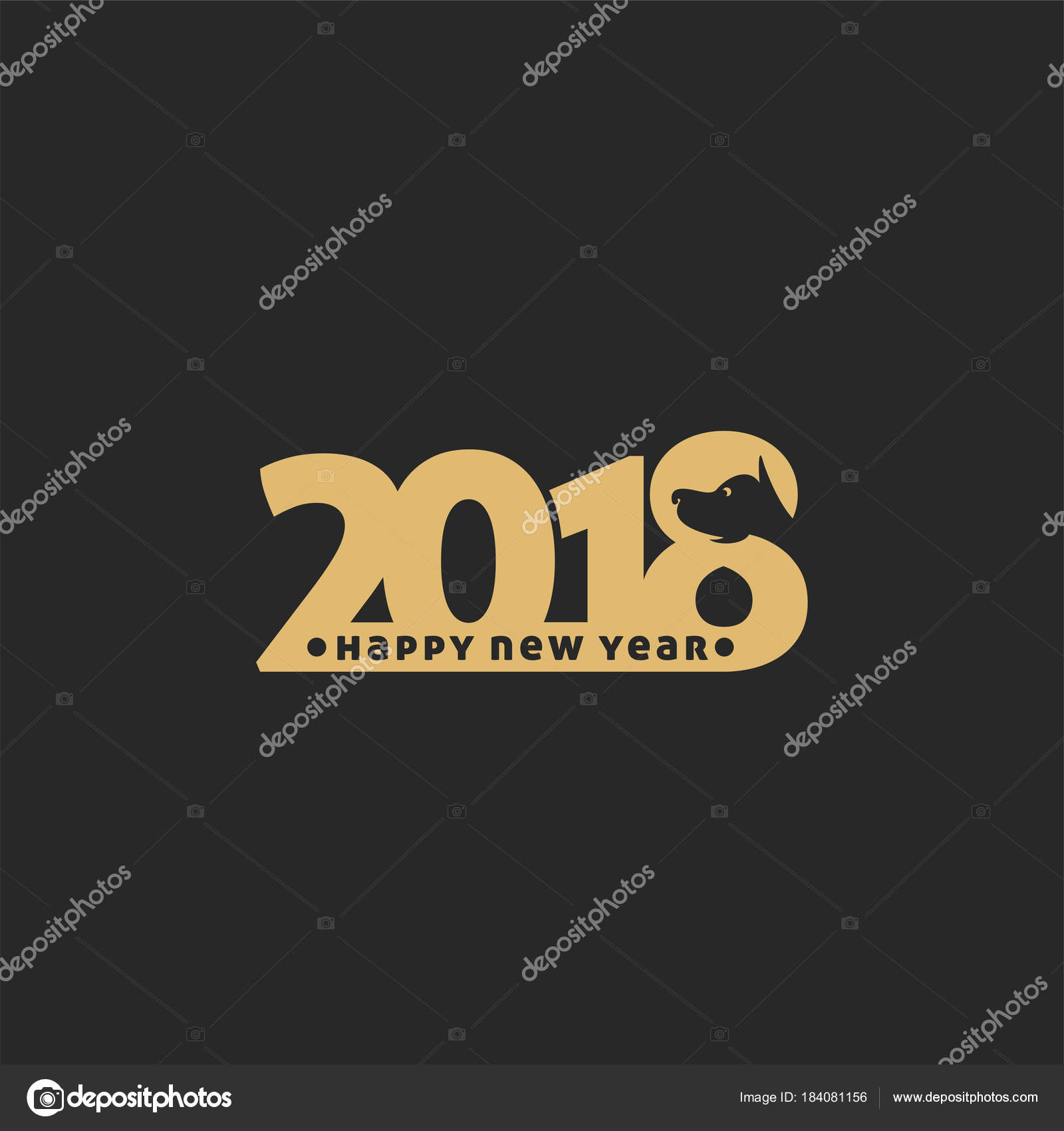 happy new year 2018 on black background vector illustration stock vector