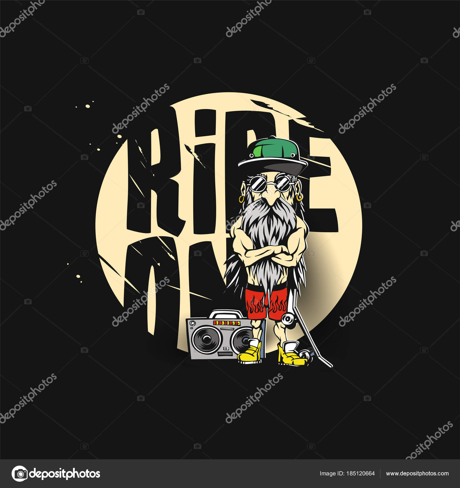 Big Daddy Wearing Green Hat And Yellow Shoe Vector