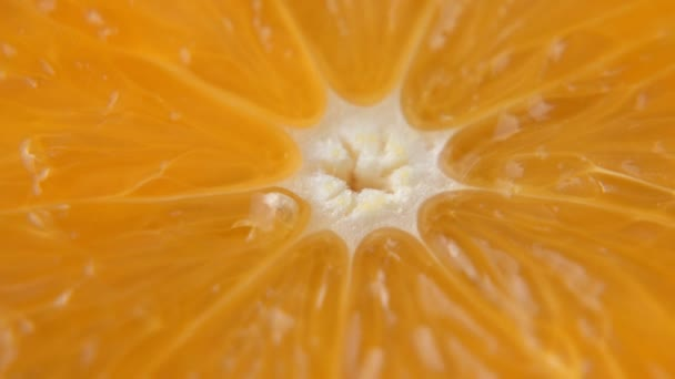 Macro shooting of an orange and rotation. Close-up of the pulp of a citrus orange. The background of nature.