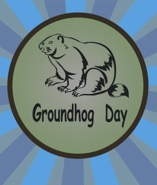 vector illustration marmot icon. Groundhog Day