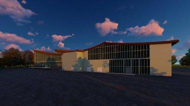 3D project of multistorey business center. Summer evening.