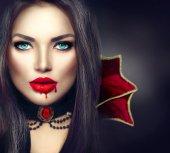 Fotografie Halloween Vampir Frau Porträt