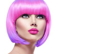 model with short pink hair