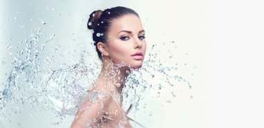 woman with splashes of water