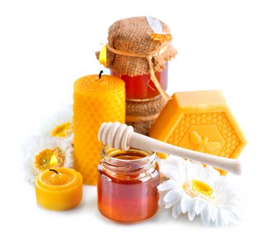 Honey, natural wax and wax candles