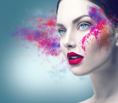 girl  with colorful powder makeup