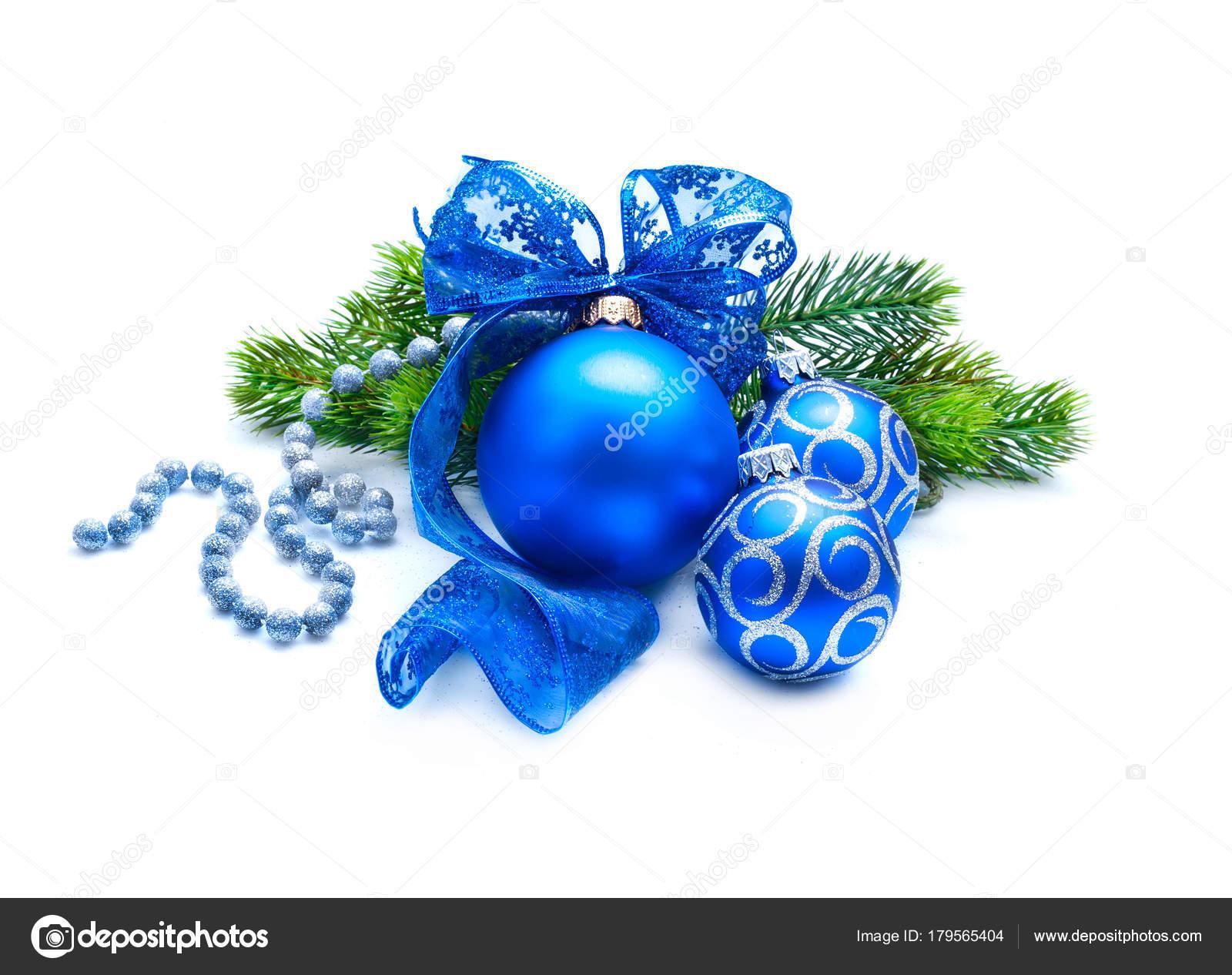 Bleu Boules Decoration Noel Avec Branche Sapin Ruban Sur Fond