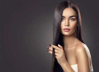 brunette model girl with long straight black hair