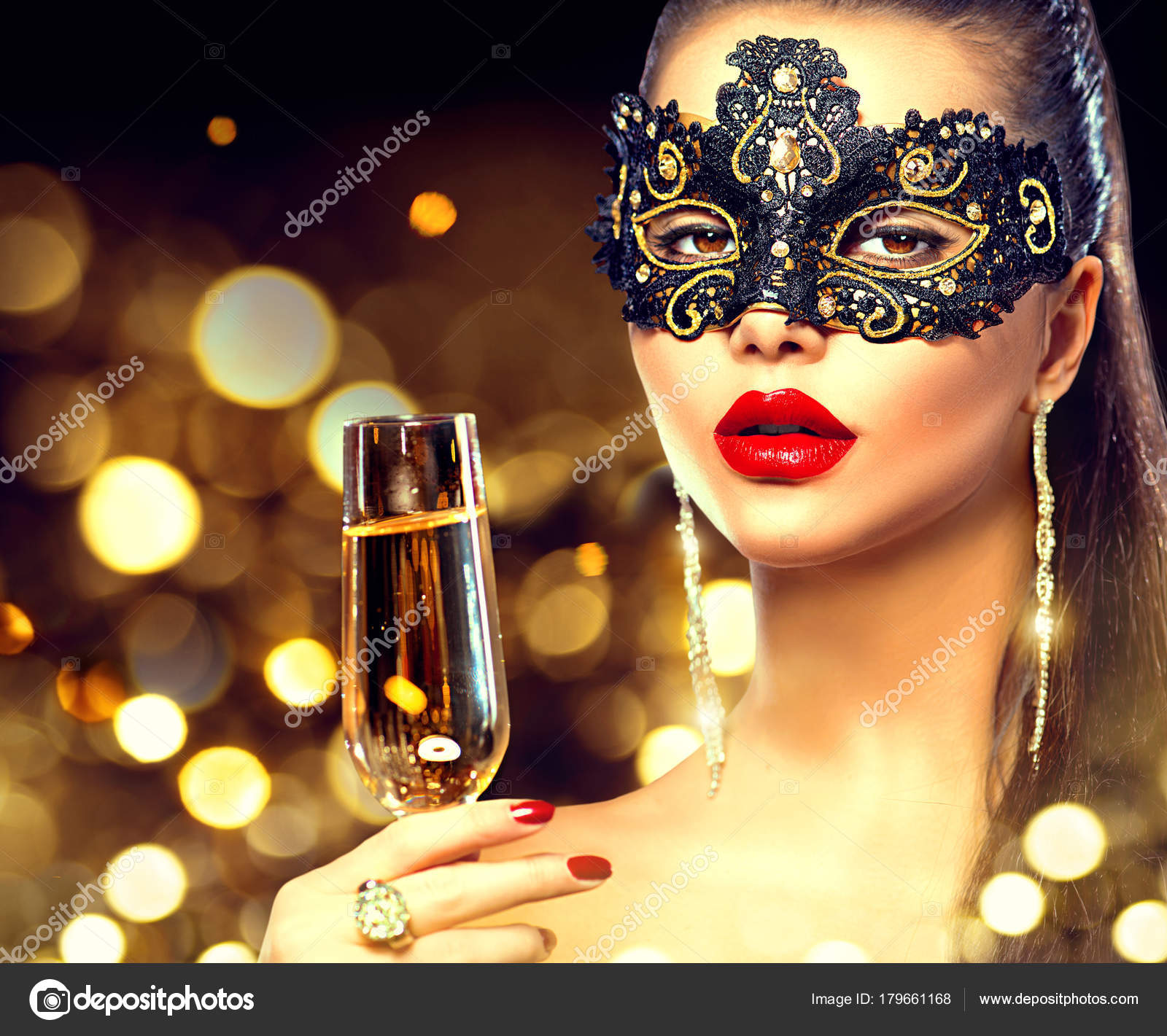 Woman Glass Champagne Lace Masquerade Mask Face Stock Photo