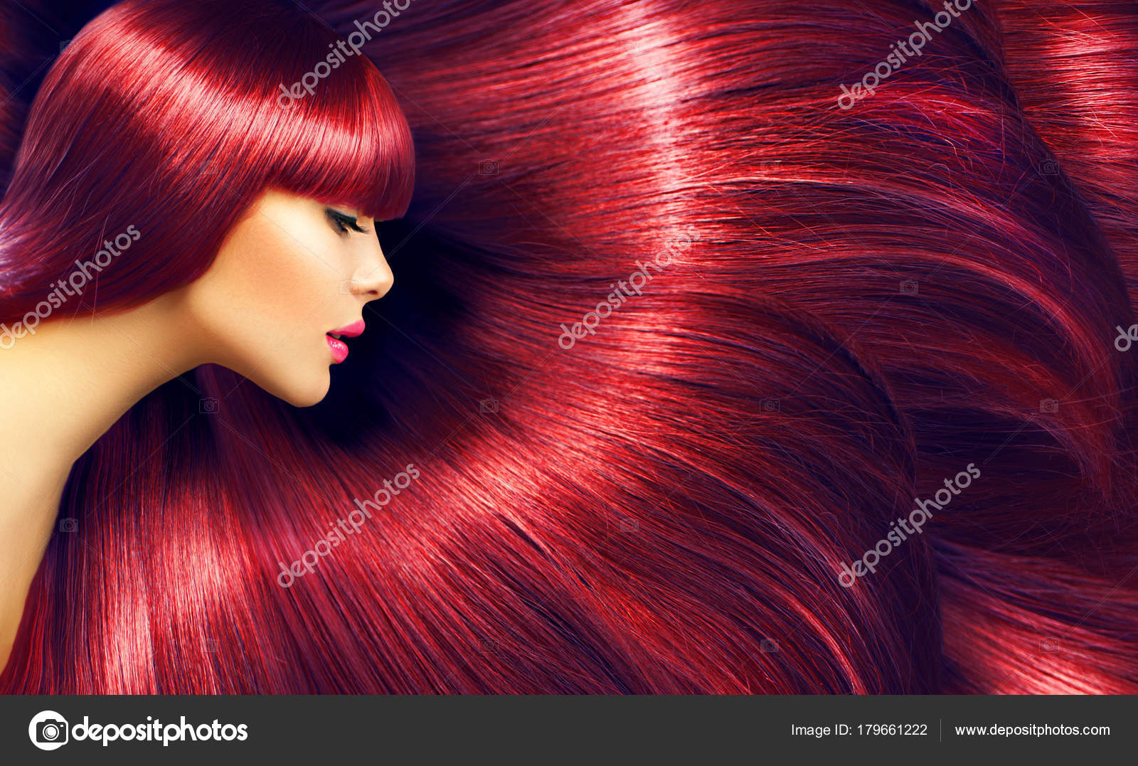 Pictures Black Hair With Burgundy Highlights Woman