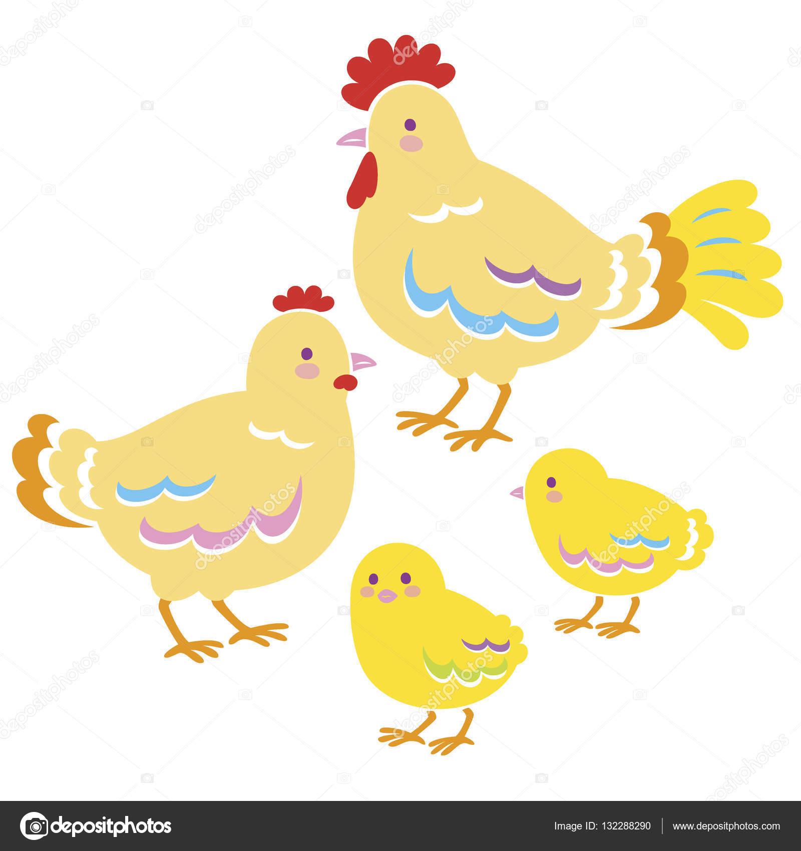鶏の家族 — ストックベクター © niow #132288290