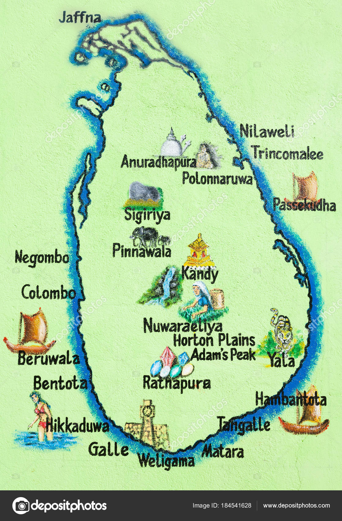 Sri Lanka Hikkaduwa Painted Map Of The Sri Lankan Island