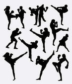 Photo Kick boxing martial art sport training silhouette