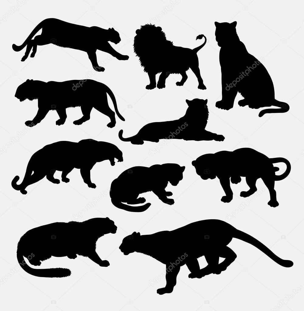 チーター、ヒョウ、ヒョウ、ライオン、虎の野生動物のシルエット