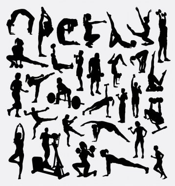 Fitness, gymnastic, aerobic, male and female sport silhouette